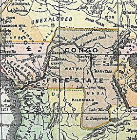 Mapa que sitúa el Estado Libre del Congo en 1890.